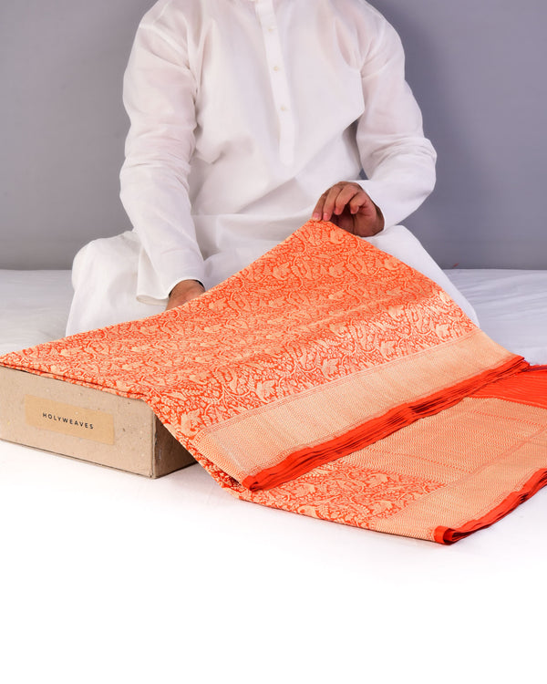 Orange Banarasi Shikargah Brocade Handwoven Katan Silk Saree-HolyWeaves