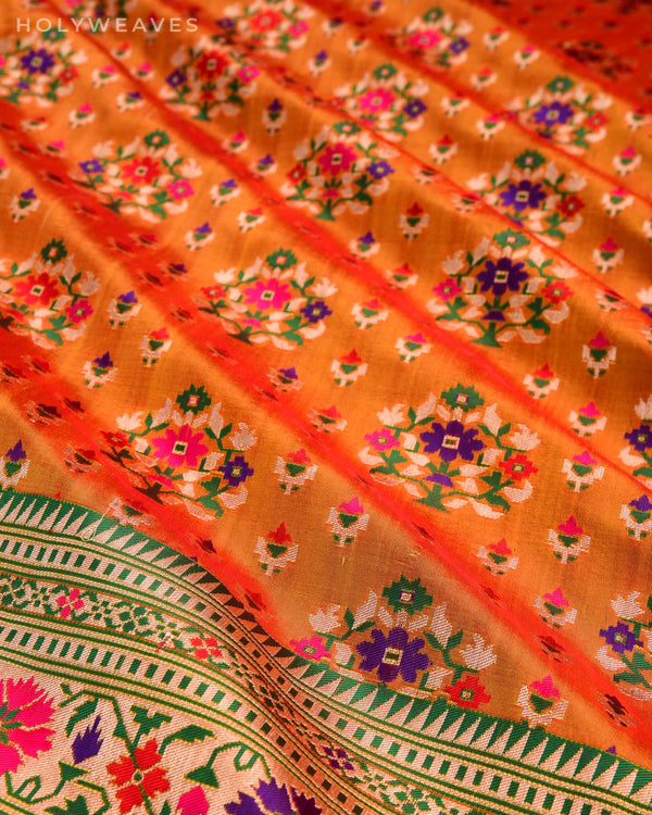 Orange Banarasi Patola Cutwork Brocade Handwoven Katan Silk Dupatta - HolyWeaves