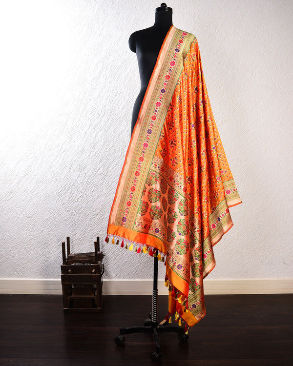 Orange Banarasi Patola Cutwork Brocade Handwoven Katan Silk Dupatta