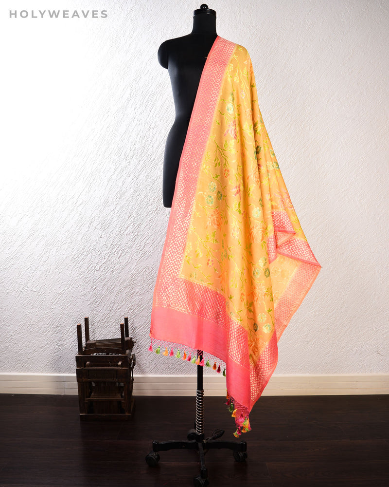 Mustard Yellow Banarasi Hand-brush Meena Cutwork Brocade Handwoven Muga Silk Dupatta-HolyWeaves