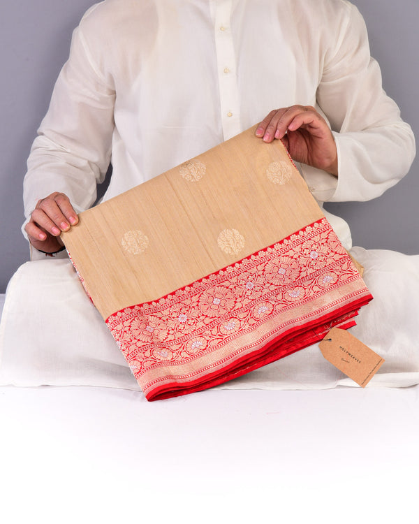 Beige Banarasi Kadhuan Brocade Handwoven Tasar Silk Saree with Red Brocade Border Pallu - HolyWeaves