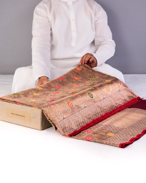 Antique Gold Banarasi Meena Jaal All-over Kadhuan Brocade Handwoven Katan Tissue Saree-HolyWeaves