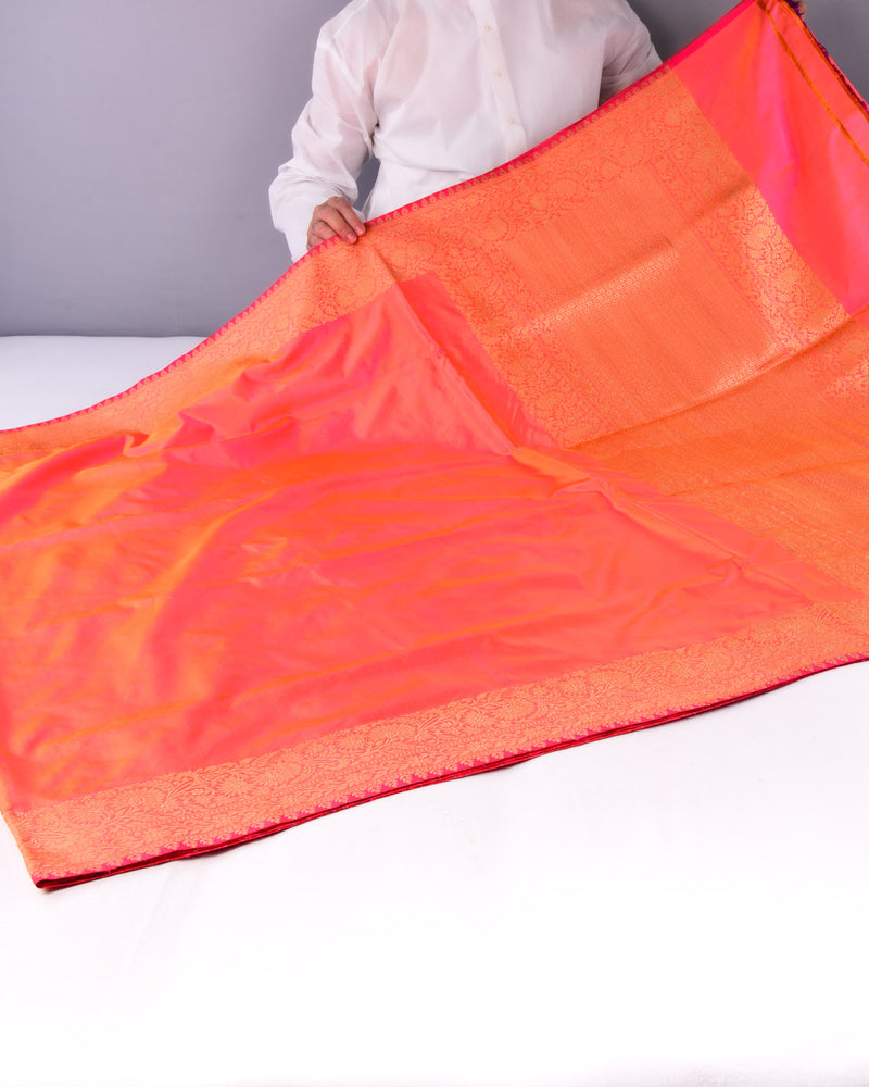 Shot Peach Banarasi Brocade Handwoven Katan Silk Saree