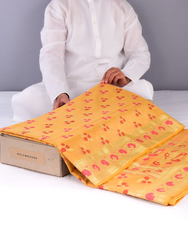 Yellow Banarasi Meena Zari Guchchha Buti Cutwork Brocade Woven Cotton Silk Saree