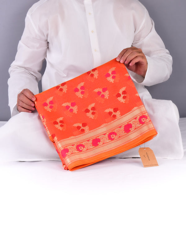 Orange Banarasi Meena Zari Guchchha Buti Cutwork Brocade Woven Cotton Silk Saree