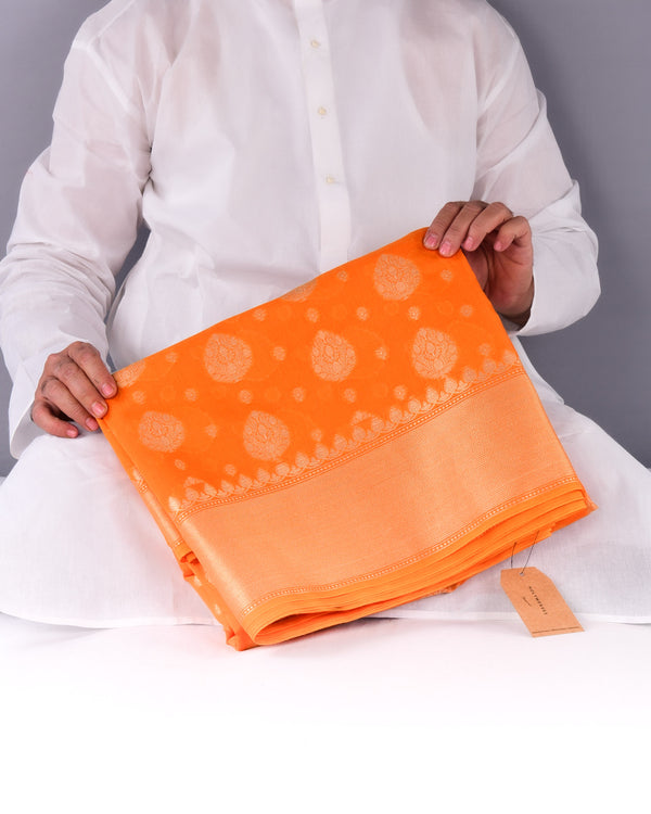 Orange Banarasi Badi-Chhoti Zari Buti Cutwork Brocade Woven Cotton Silk Saree