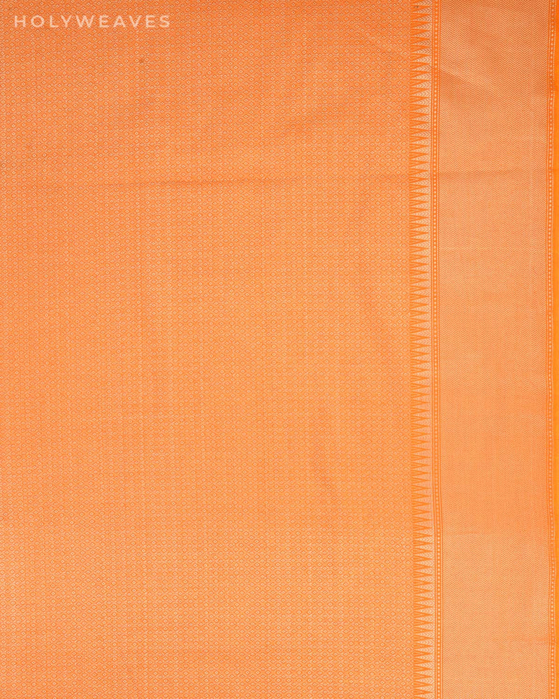 Orange Banarasi Badi-Chhoti Zari Buti Cutwork Brocade Woven Cotton Silk Saree-HolyWeaves