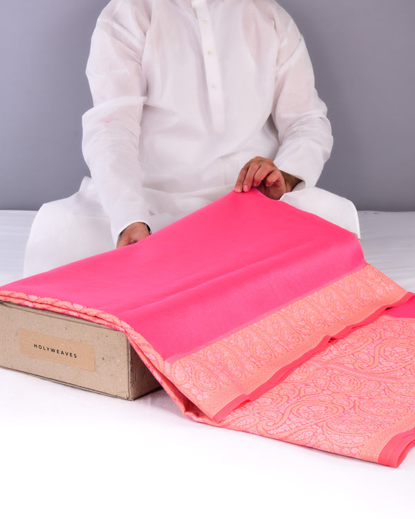 Pink Banarasi Cutwork Brocade Woven Art Cotton Silk Saree with Resham Kairi Border Pallu