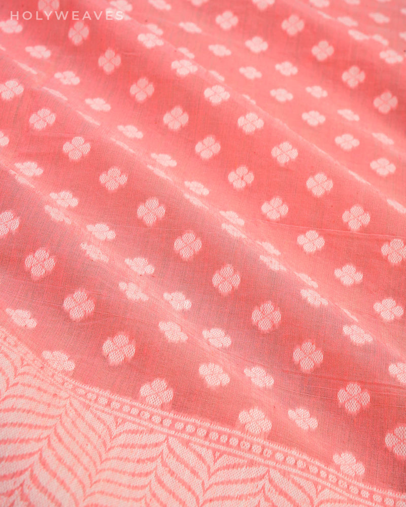 Peach Banarasi Resham Buti Cutwork Brocade Woven Cotton Silk Saree