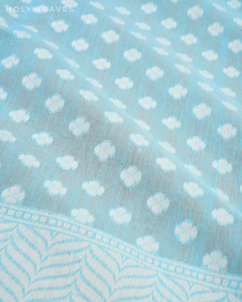Blue Banarasi Resham Buti Cutwork Brocade Woven Cotton Silk Saree