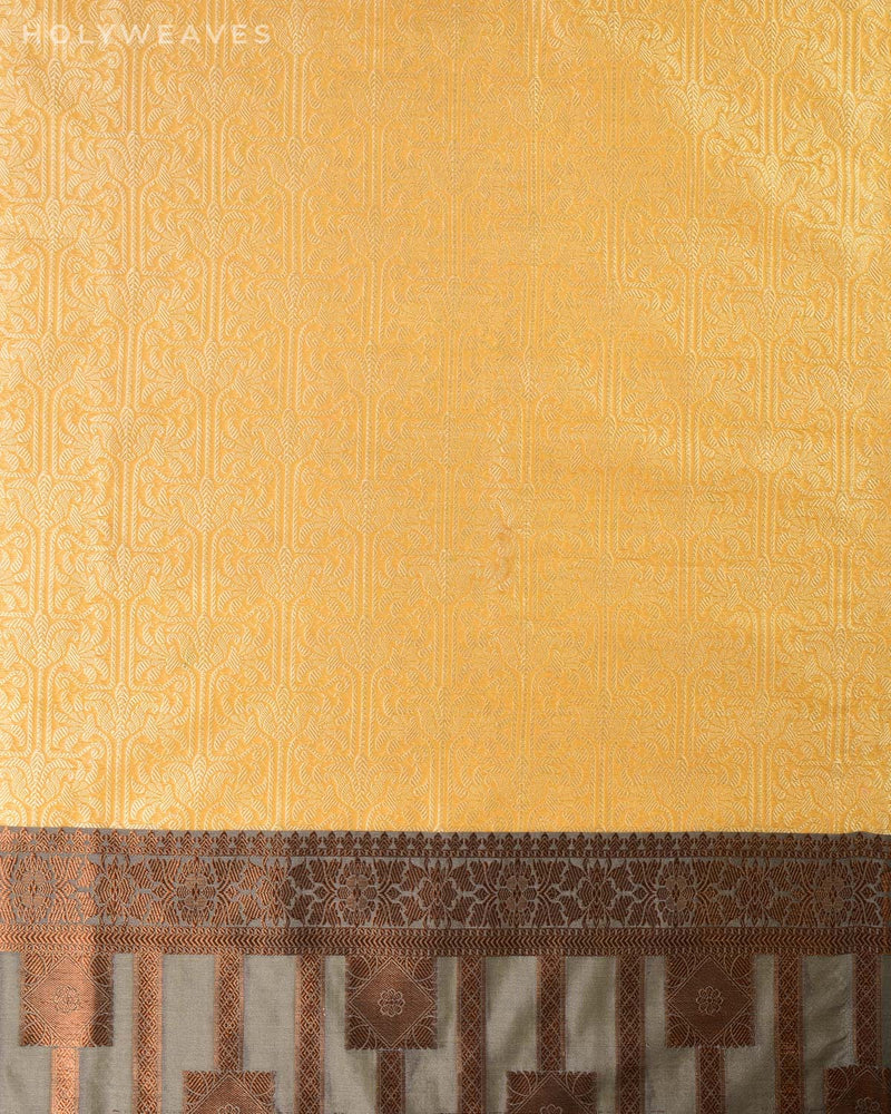Beige Banarasi Cutwork Brocade Woven Art Cotton Silk Saree with Gray Border Pallu
