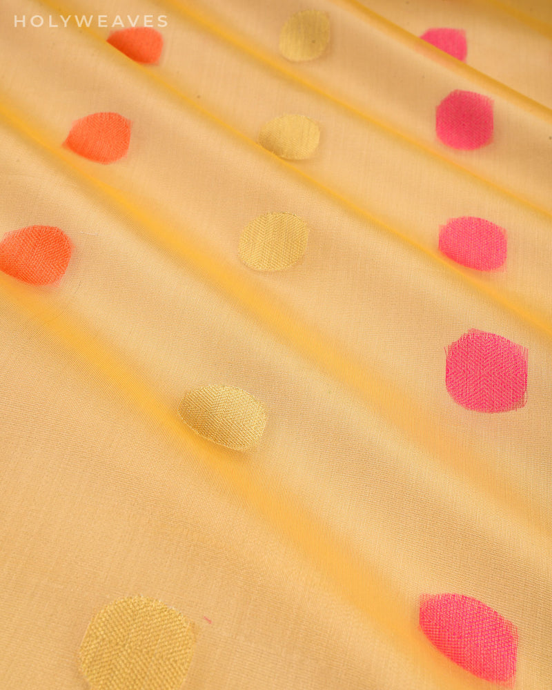 Metallic Yellow Banarasi Polka Buti Cutwork Brocade Woven Art Cotton Tissue Saree