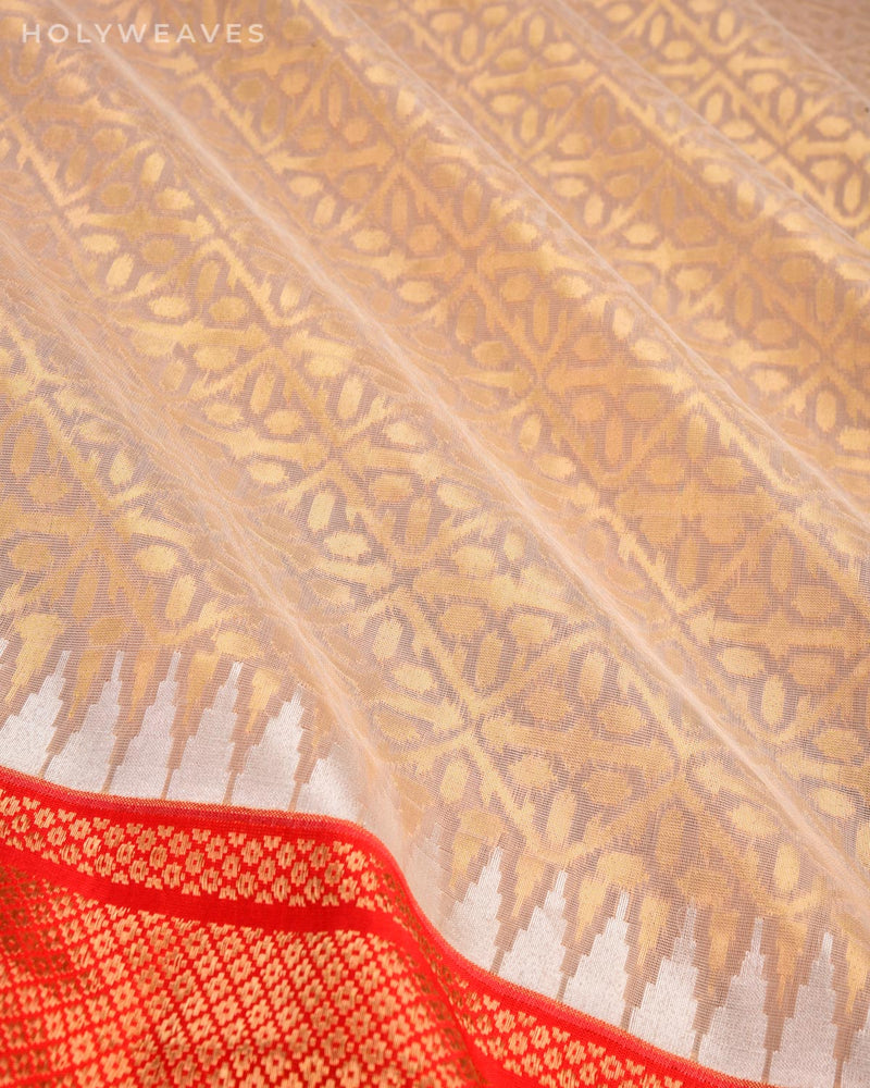 Cream Banarasi Cutwork Brocade Handwoven Kora Silk Saree with Kadiyal Red Border Pallu-HolyWeaves