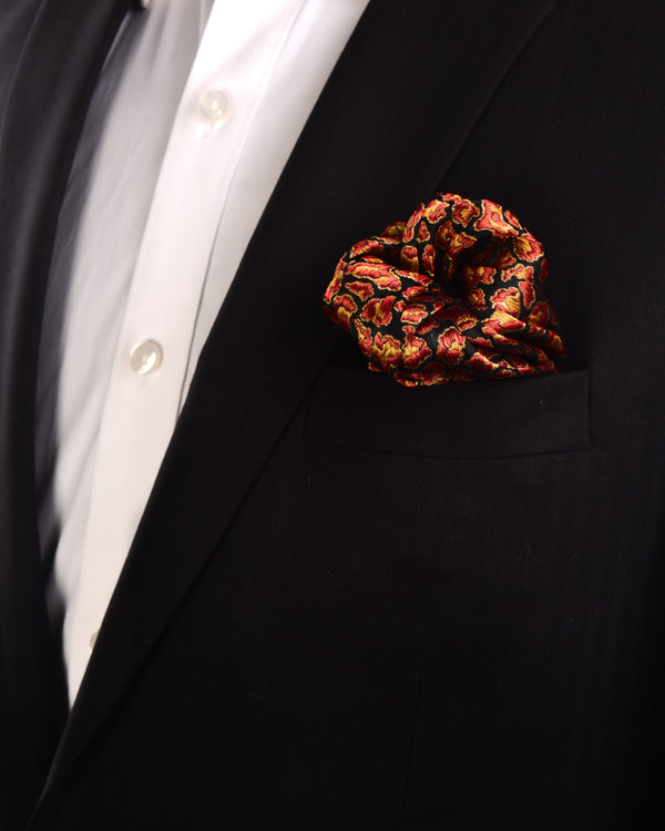 Black Double Zari Jaguar Brocade Handwoven Pure Silk Pocket Square For Men