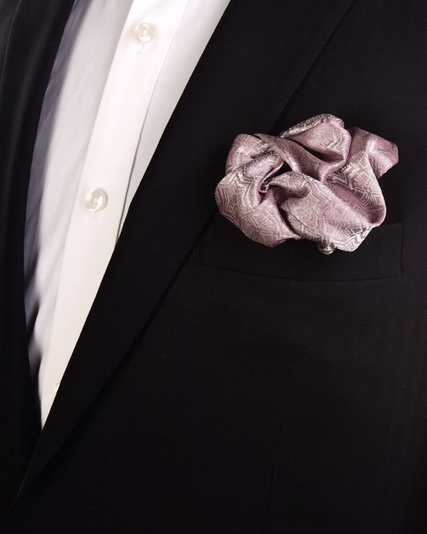 Mauve Kaleidoscopic Stars Metallic Zari Brocade Handwoven Pure Silk Pocket Square For Men