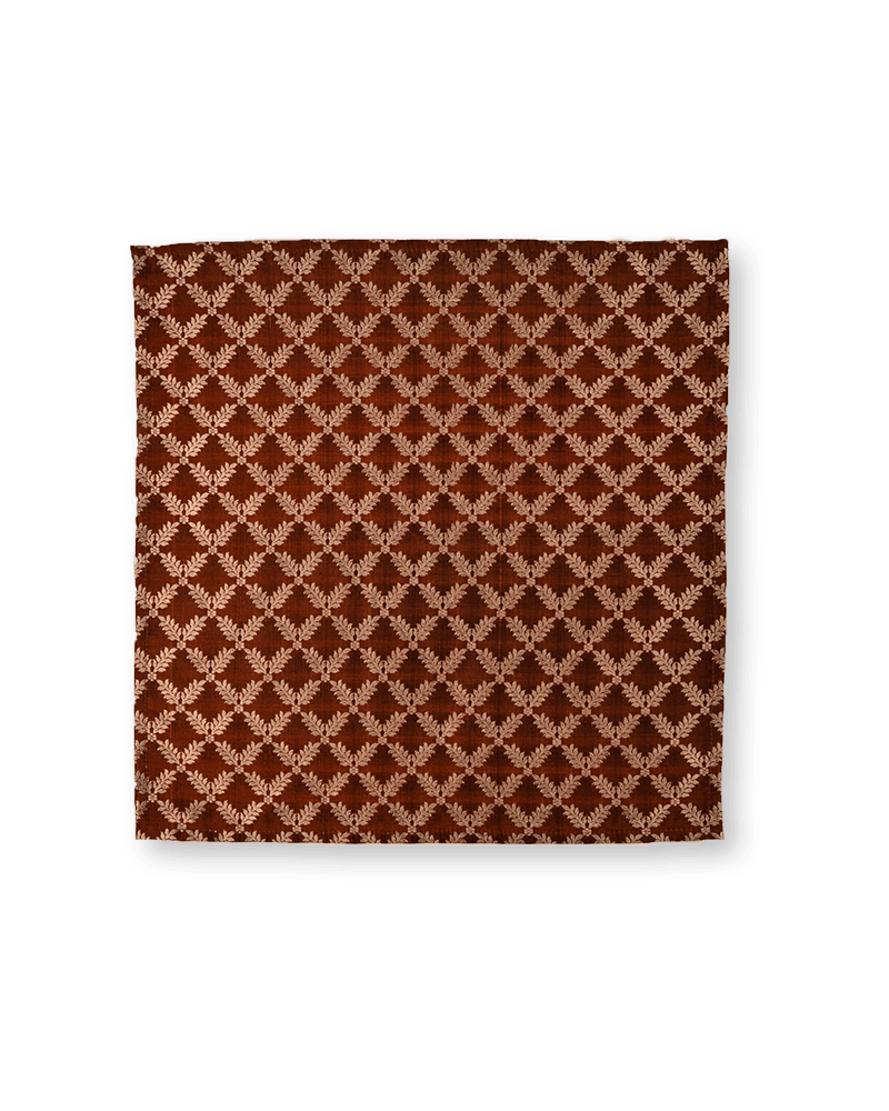 Chocolate Brown Metallic Zari Brocade Handwoven Pure Silk Pocket Square For Men