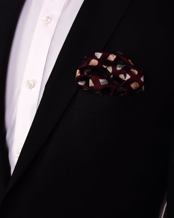 Mahogany Metallic Gold & Silver Raindrop Brocade Handwoven Pure Silk Pocket Square For Men