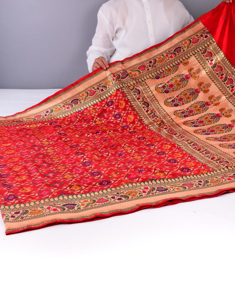 Red Banarasi Patola Cutwork Brocade Handwoven Katan Silk Saree-HolyWeaves