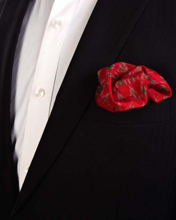 Red Ikat Handwoven Cotton Silk Pocket Square For Men-HolyWeaves