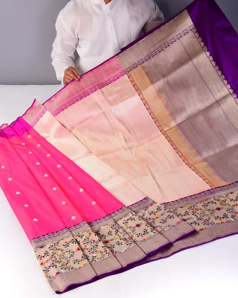 Metallic Peach Half & Half 4-color Meena Bel Kadhuan Brocade Handwoven Katan Silk Saree