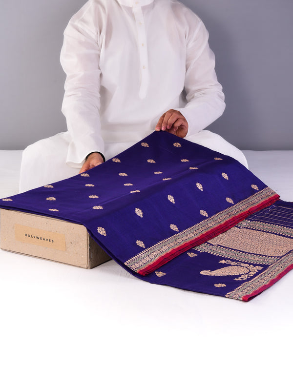 Purple Banarasi Buti Kadhuan Brocade Handwoven Cotton Silk Saree-HolyWeaves