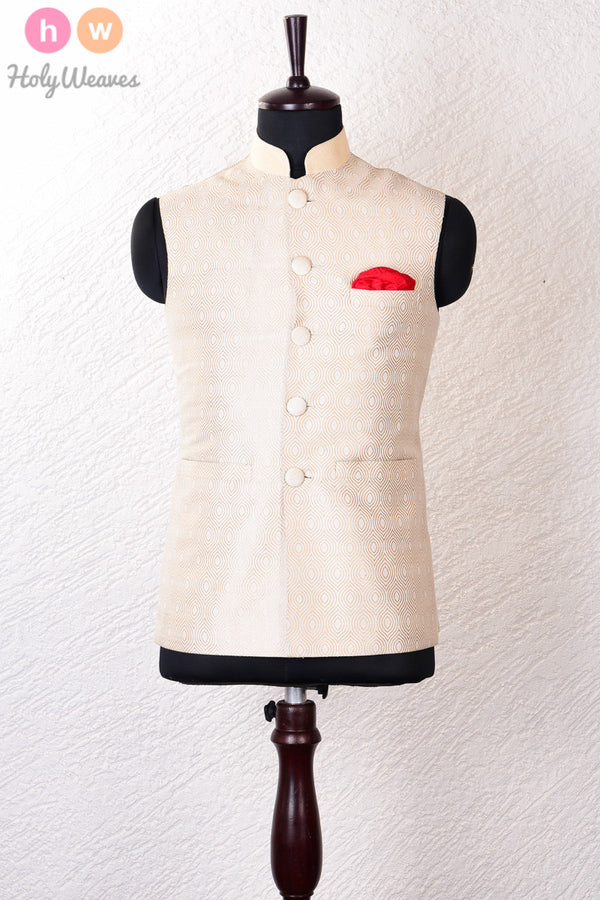 Cream Katan (कतान) Silk Brocade Modi Jacket - HolyWeaves