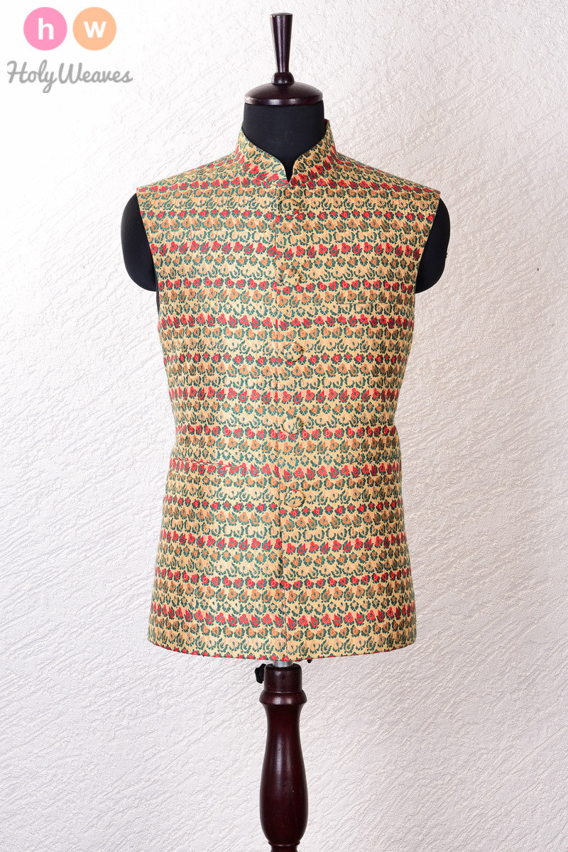Beige Silk Brocade Modi Jacket - HolyWeaves