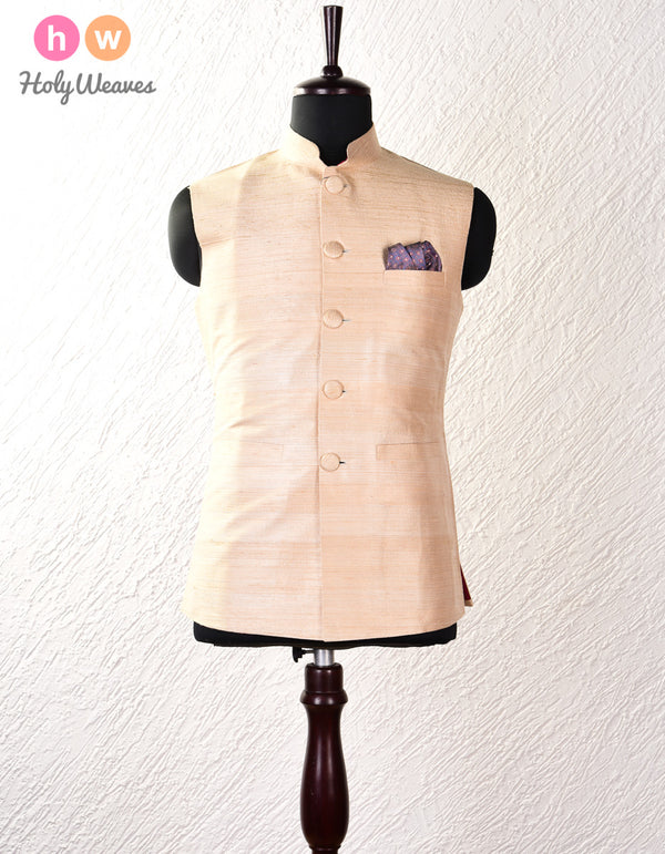 Beige Raw Silk Modi Jacket- HolyWeaves