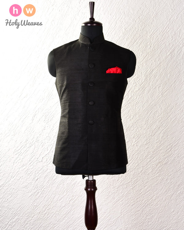 Black Raw Silk Modi Jacket- HolyWeaves