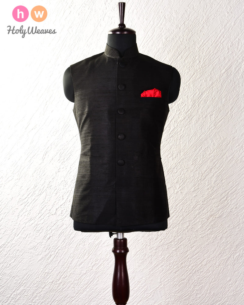 Black Raw Silk Modi Jacket - HolyWeaves