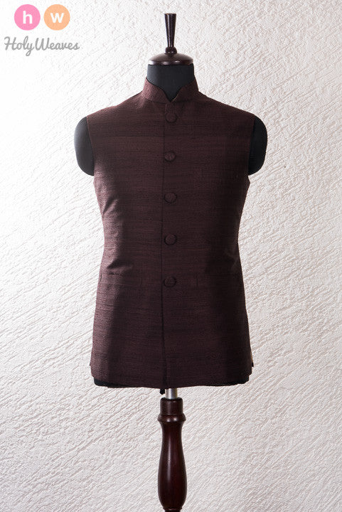 Brown Raw Silk Modi Jacket- HolyWeaves