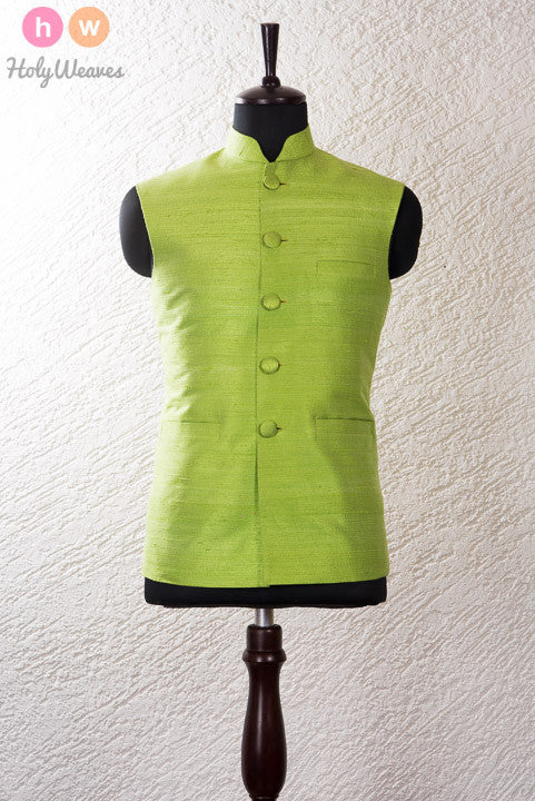 Green Raw Silk Modi Jacket - HolyWeaves - 1