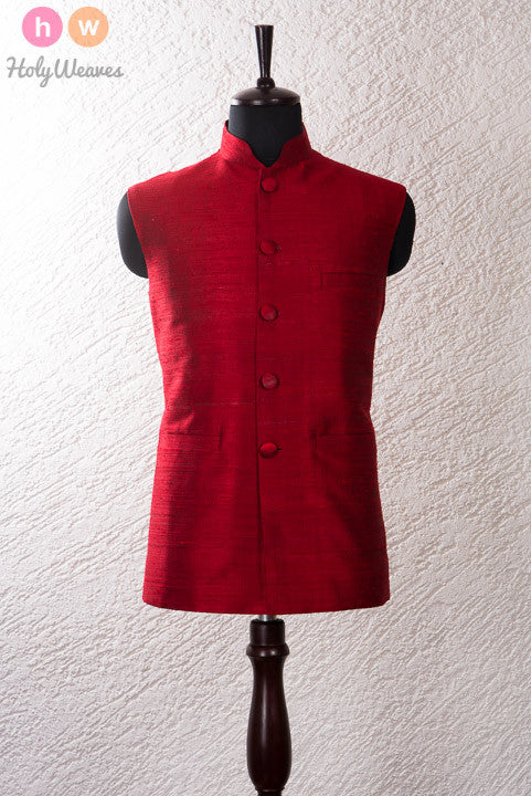 Red Raw Silk Modi Jacket - HolyWeaves - 1