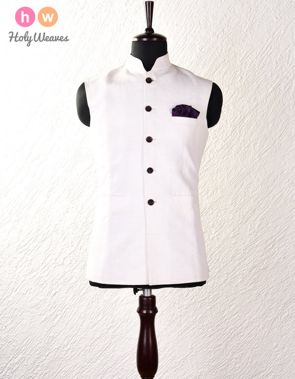 White Linen Silk Modi Jacket- HolyWeaves