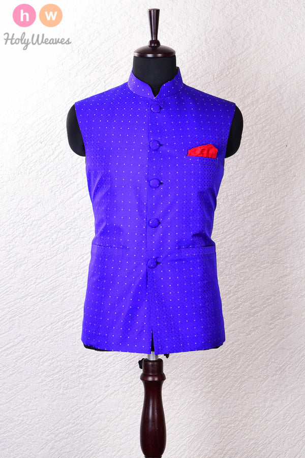 Blue Silk Tanchoi Brocade Modi Jacket - HolyWeaves