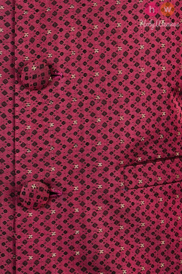Magenta Silk Tanchoi Cutwork Brocade Mens Modi Jacket - HolyWeaves