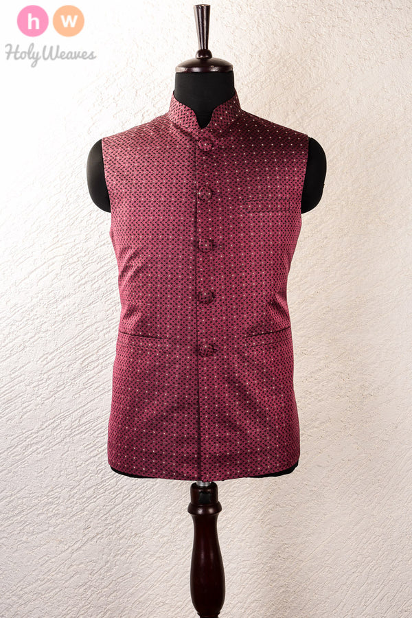 Magenta Silk Tanchoi Cutwork Brocade Mens Modi Jacket- HolyWeaves