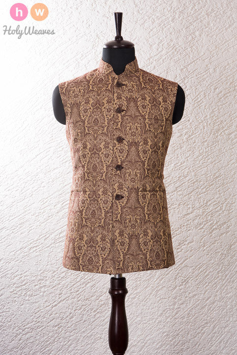 Brown Linen Jacquard Modi Jacket- HolyWeaves