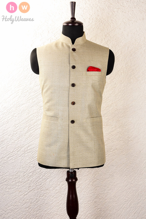 Green Matka Brocade Mens Modi Jacket - HolyWeaves