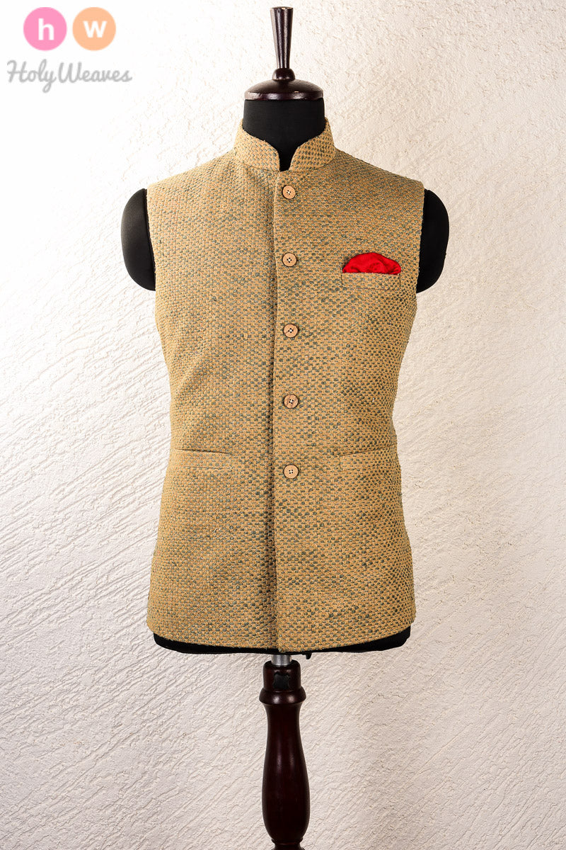 Green Jute Brocade Mens Modi Jacket - HolyWeaves