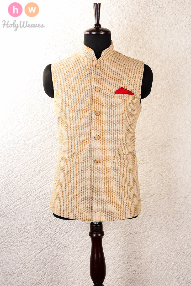 Beige Jute Brocade Mens Modi Jacket - HolyWeaves