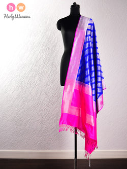 Blue Handwoven Katan (कतान) Silk Cutwork Brocade Dupatta - HolyWeaves