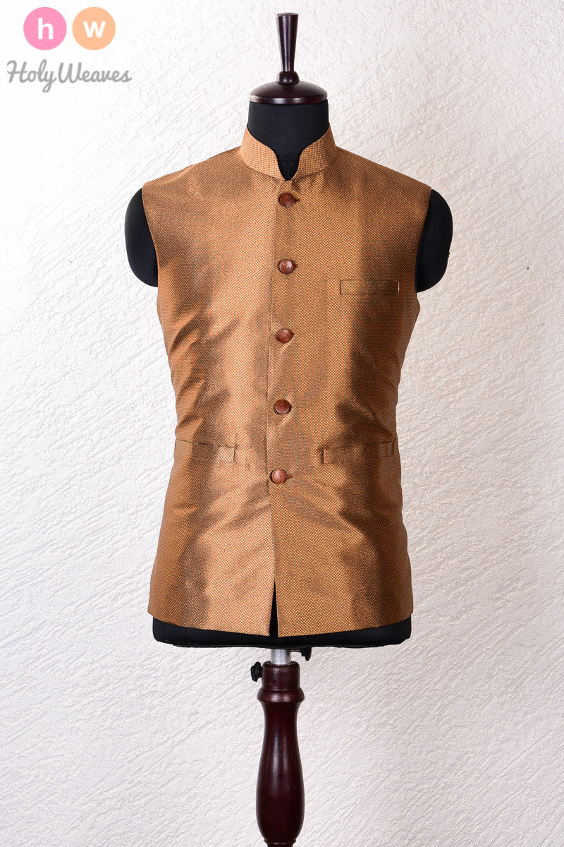 Gold Art Silk Brocade Modi Jacket - HolyWeaves