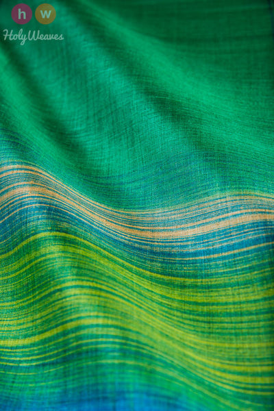 Green Tasar Silk Hand-painted Dupatta - HolyWeaves - 2