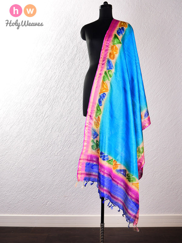 Blue Tasar Silk Hand-painted Dupatta- HolyWeaves
