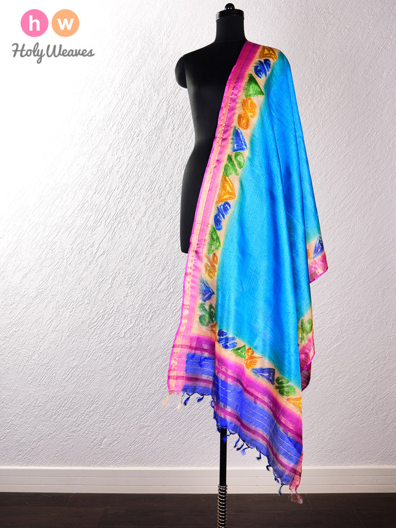 Blue Tasar Silk Hand-painted Dupatta - HolyWeaves