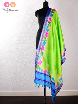 Green Tasar Silk Hand-painted Dupatta- HolyWeaves