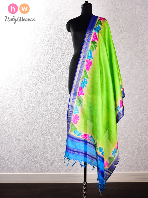 Green Tasar Silk Hand-painted Dupatta - HolyWeaves