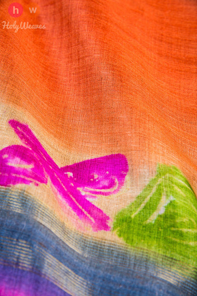Orange Tasar Silk Hand-painted Dupatta - HolyWeaves - 2