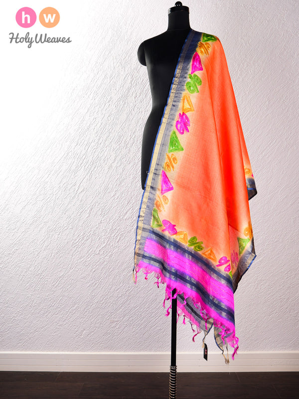 Orange Tasar Silk Hand-painted Dupatta- HolyWeaves